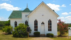 Founders Chapel, originally built in 1907 on the banks of the Brazos River.