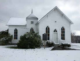 A peaceful morning at the chapel in the January snow.